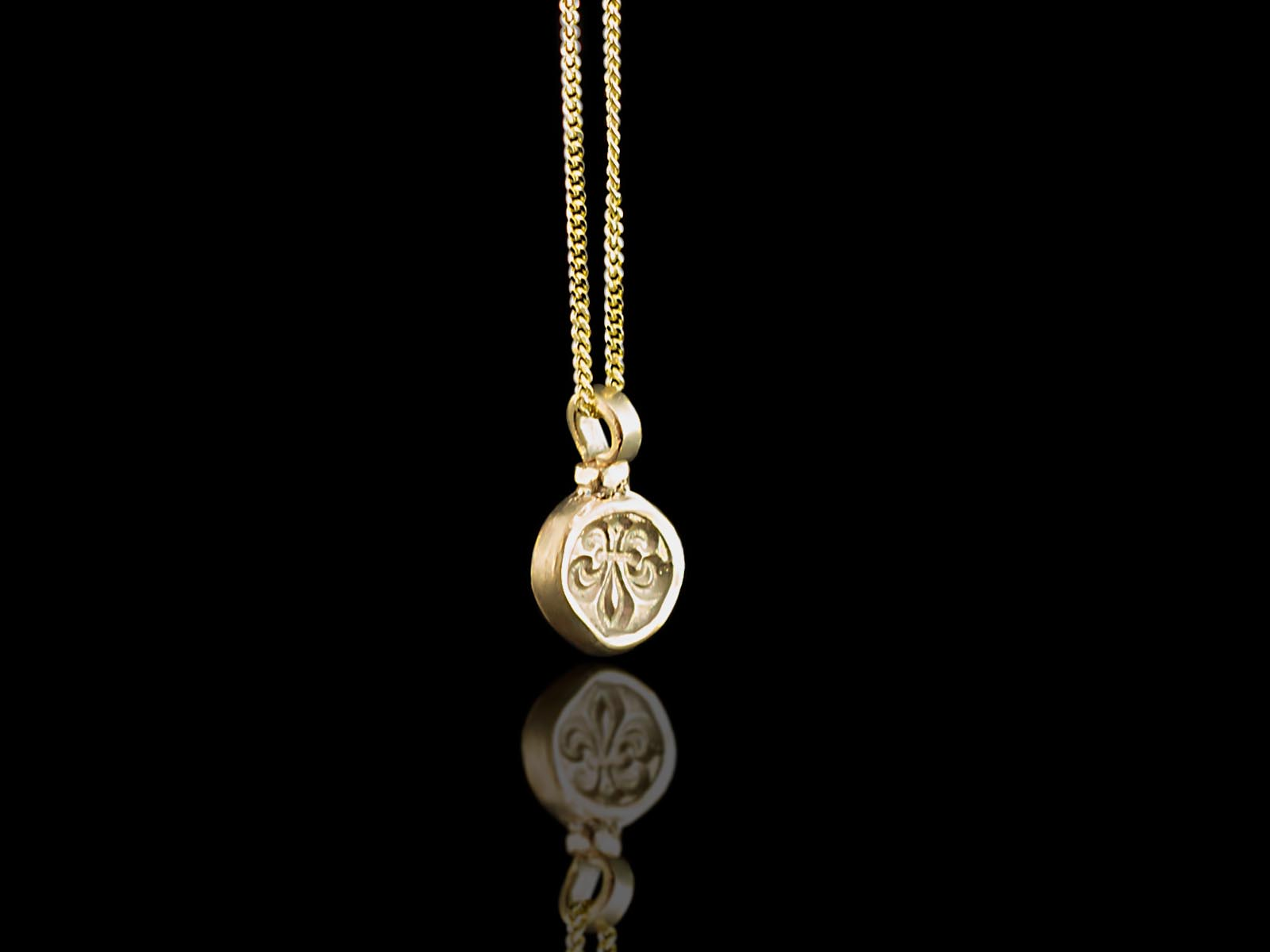 Fleur De Lis Solid 9ct Gold Necklace With A Hidden
