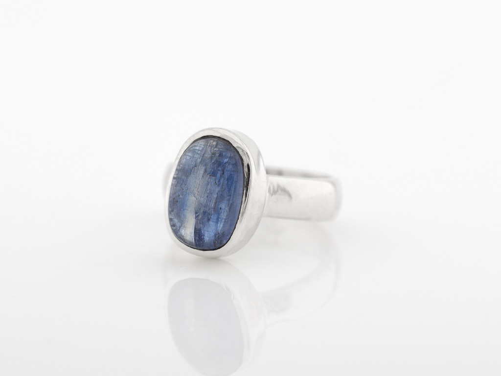 Kyanite Oval Ring Handcrafted In Sterling Silver