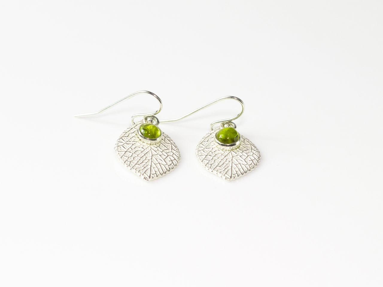 Peridot Leaf Earrings Sterling Silver With Polished Round Cabochon Sold Out