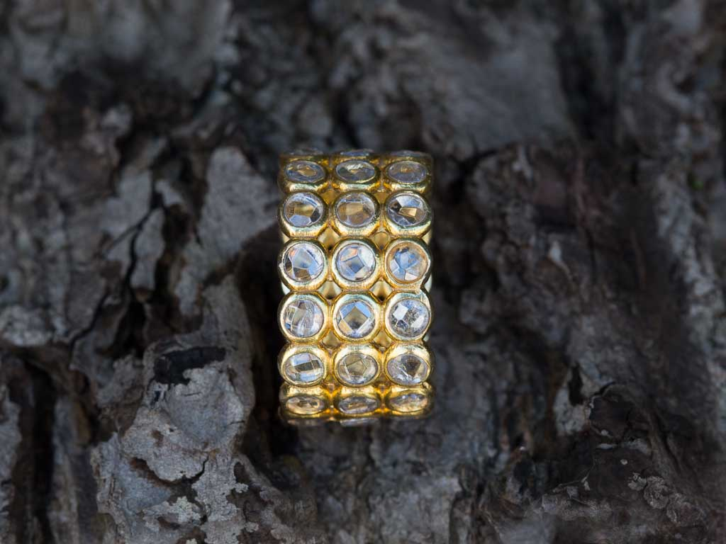 Forty Five Gold Vermeil Ring With 45 Quartz Crystals