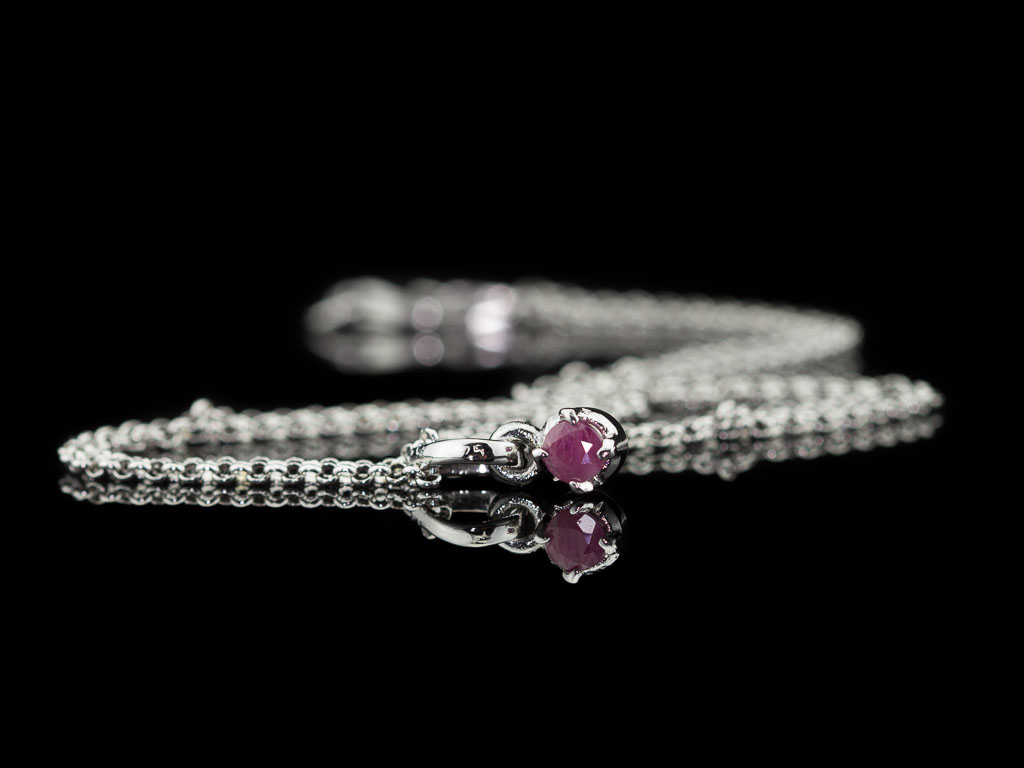 Round Ruby Necklace In Rhodium Plated Sterling Silver