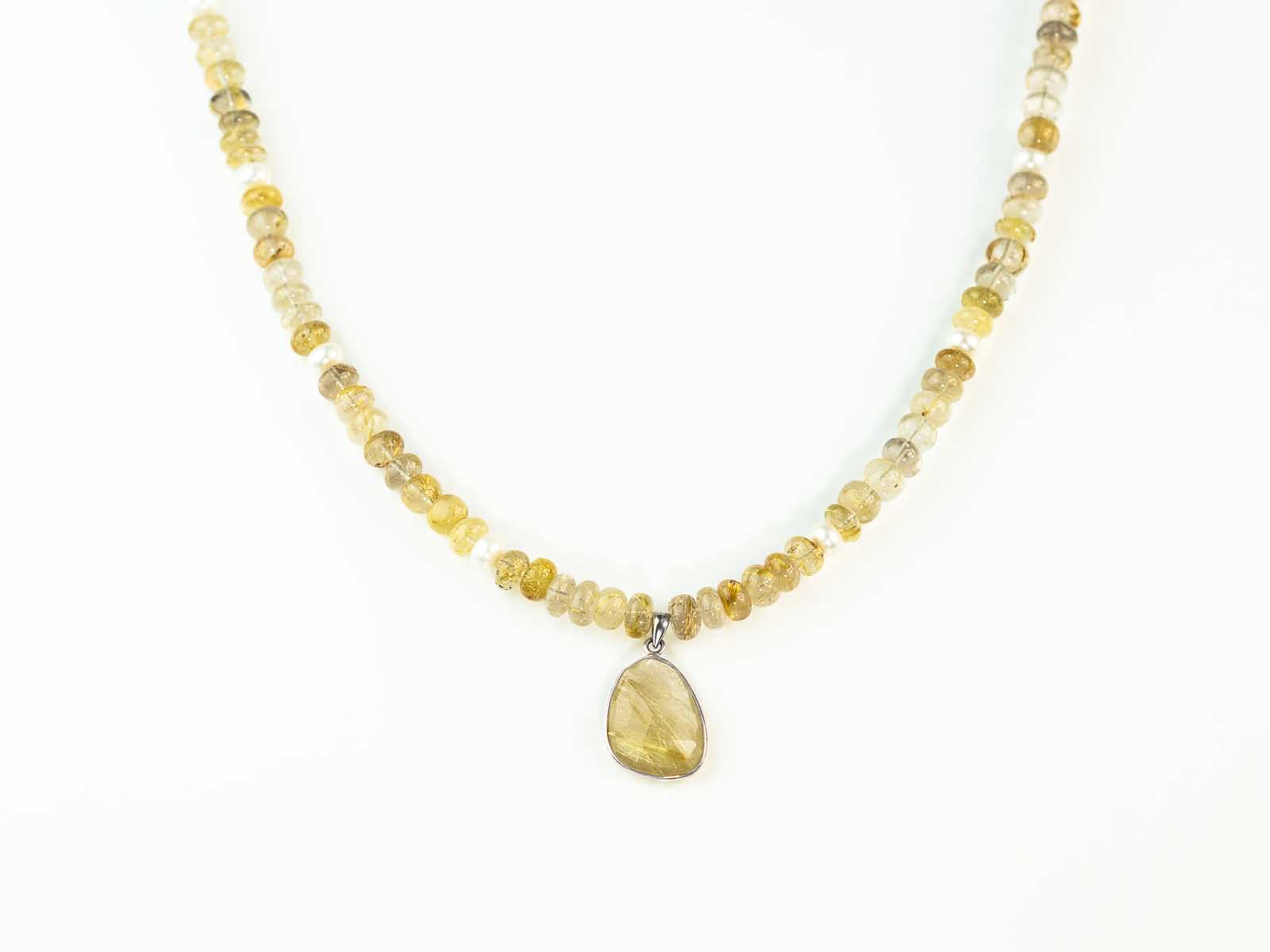 Golden rutilated quartz venus hair necklace sterling for Golden rutilated quartz jewelry