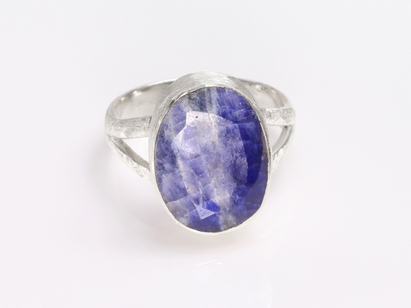 Large Oval Sapphire Brushed Sterling Silver Ring Sold Out