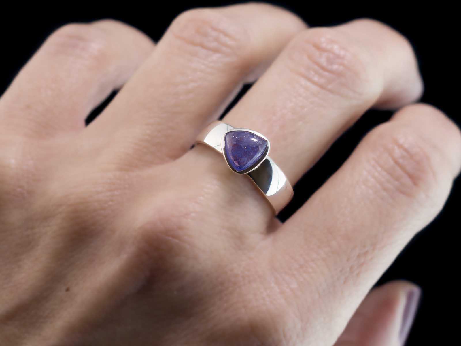 Tanzanite Trillion Ring Sterling Silver With Blue