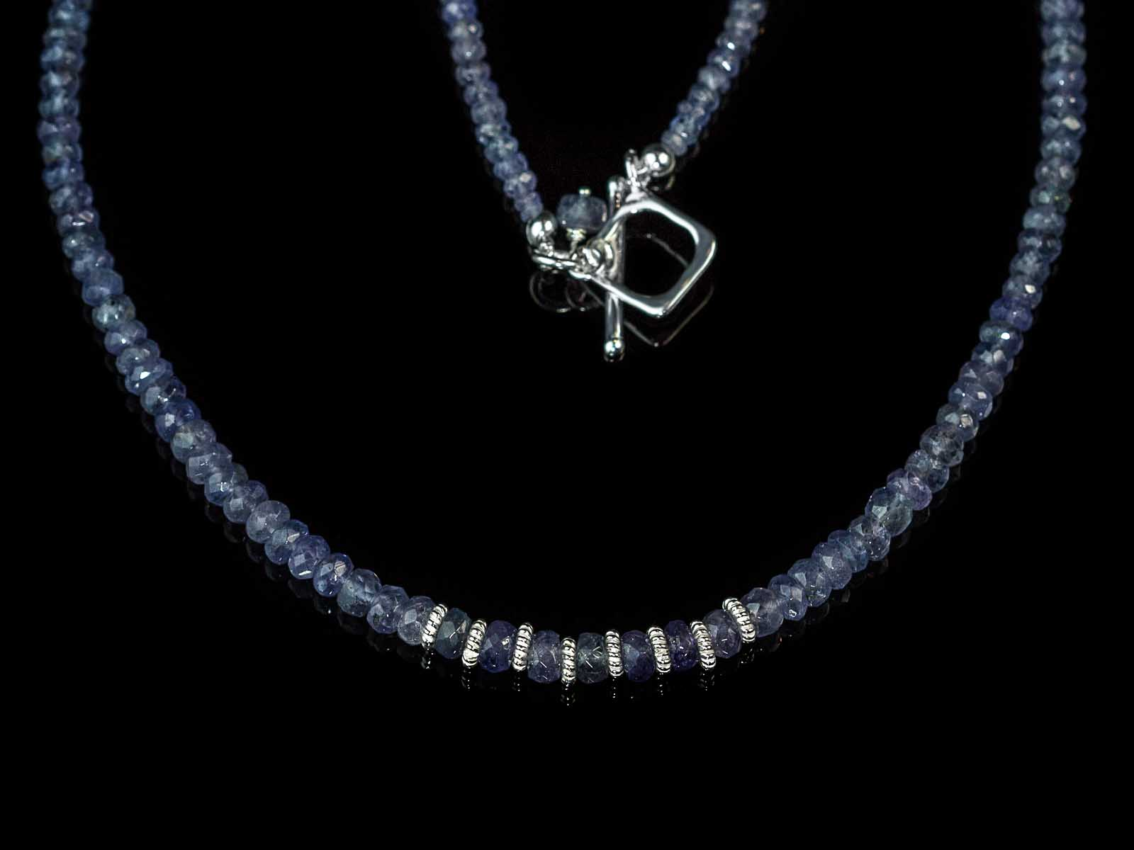 Blue Tanzanite Necklace With Sterling Silver Works