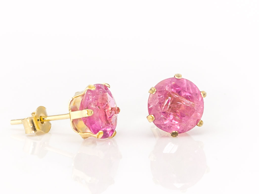 Pink Tourmaline Ear Studs In Nine Carat Gold Made To Order