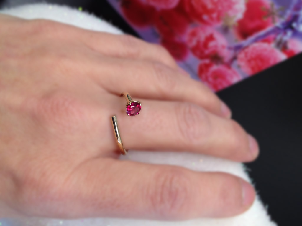 RUBELLITE GOLD | Open ring in solid Gold with Tourmaline