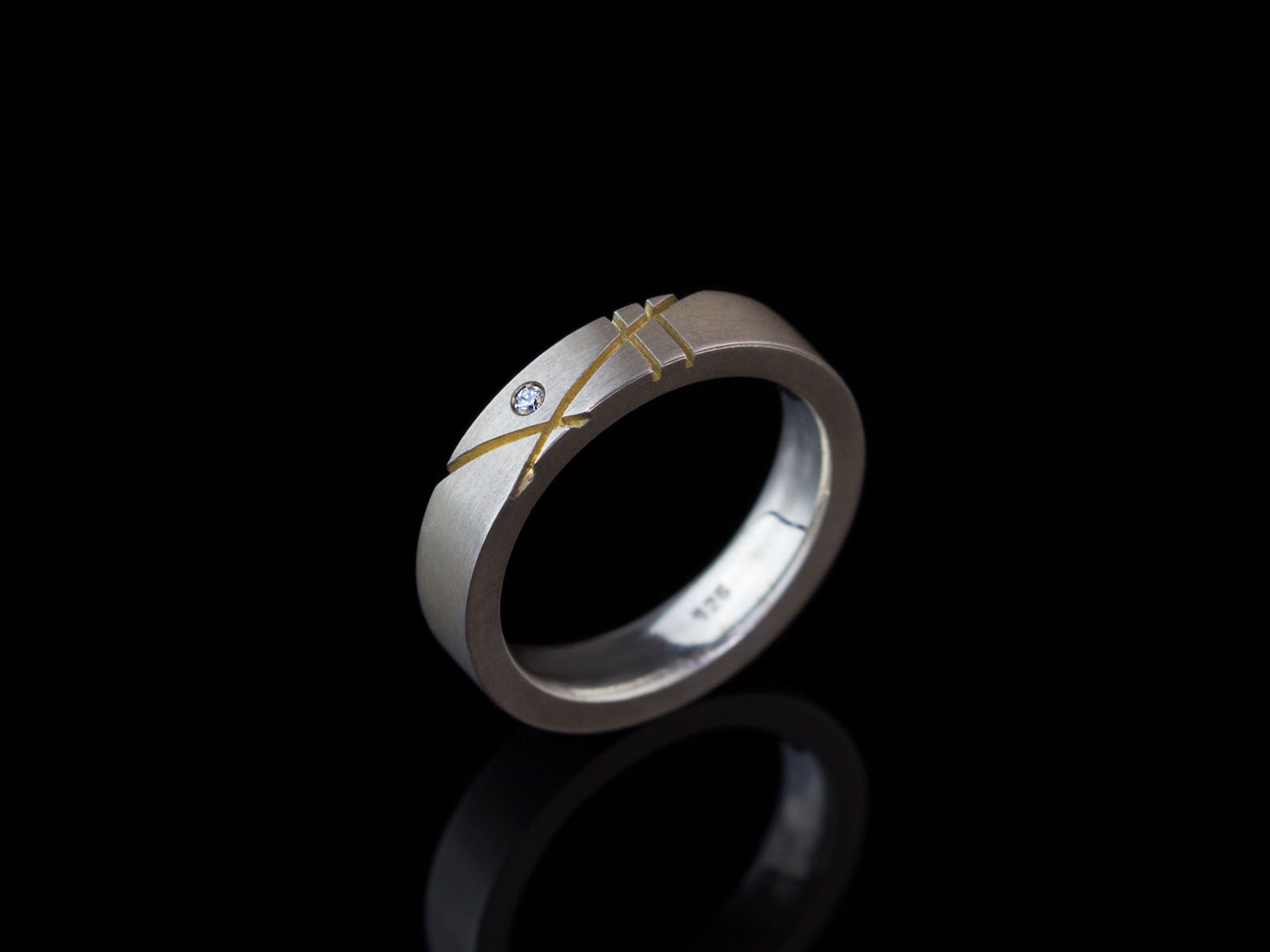 Bauhaus Zirconia Solid Sterling Silver Ring With Gold