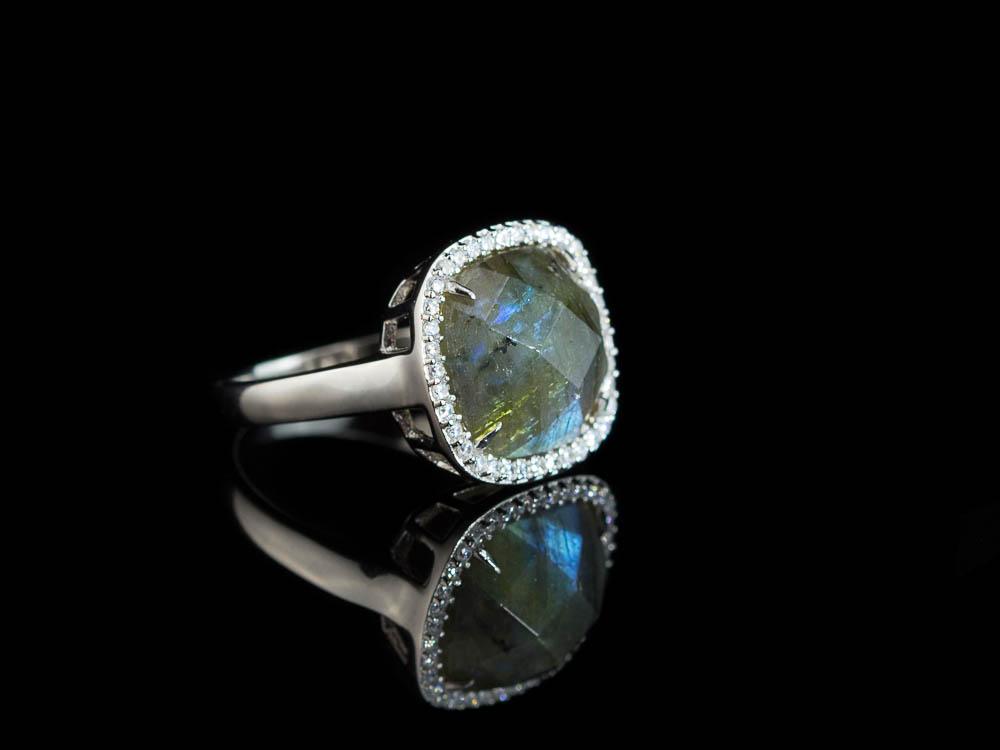 labradorite squared rhodium plated sterling silver ring