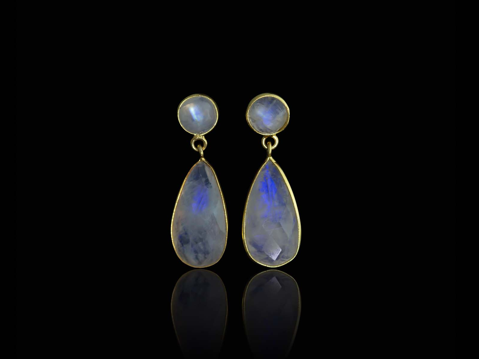 Double Rainbow Moonstone Gold Earrings Dangly Dropshaped