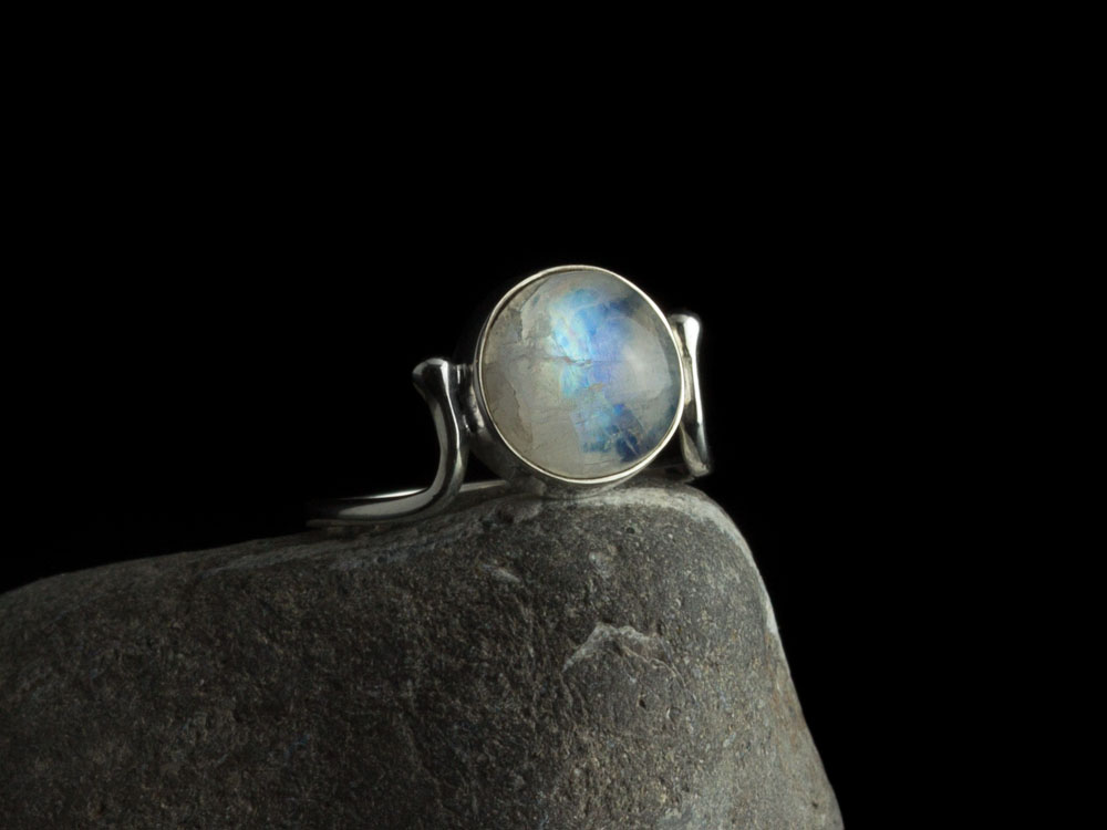 Moon Rainbow Sterling Silver Ring With Rainbow Moonstone