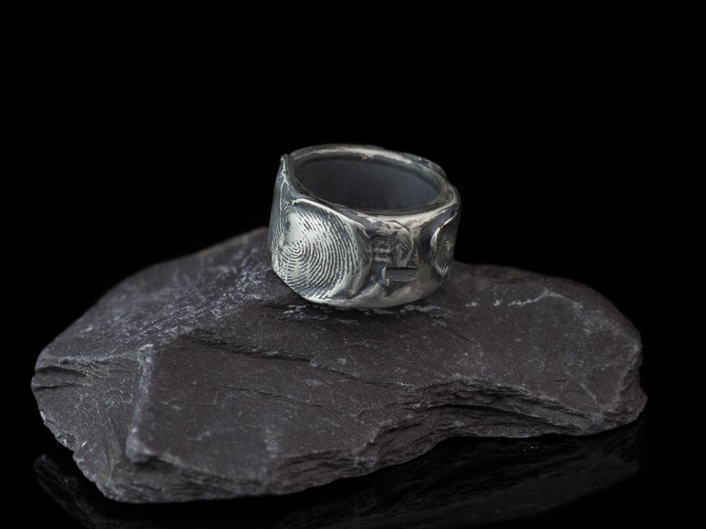 Fingerprint Vintage Solid Sterling Silver Ring Made To