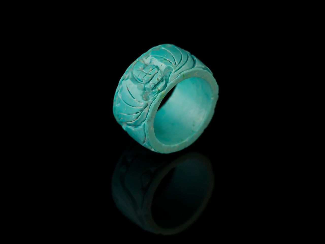 Turquoise Ring With Handcarvings Sold