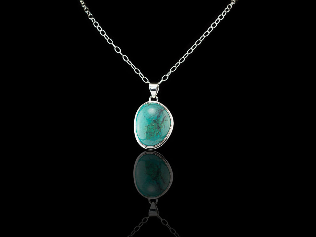 oval turquoise cabochon sterling silver necklace sold