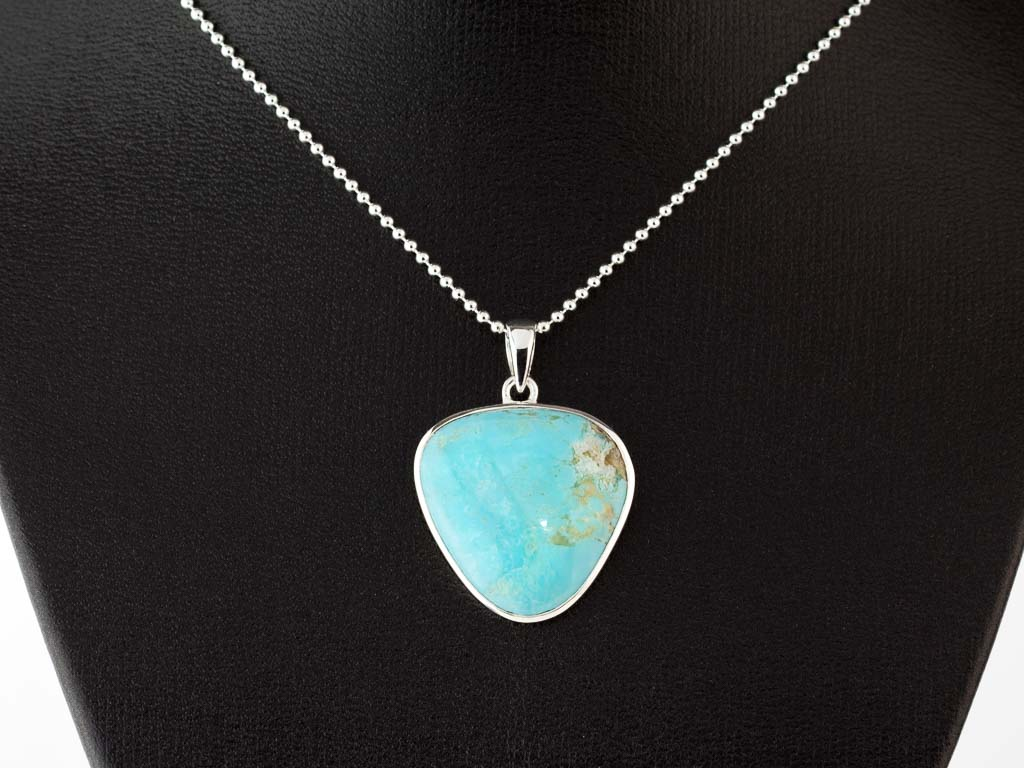 Turquoise Blue Triangle Sterling Silver Necklace With